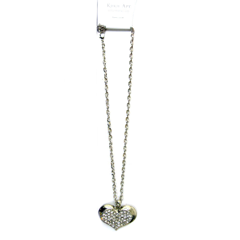 Colier culoare metal argintiu cristale inima 30x46 mm 38 cm