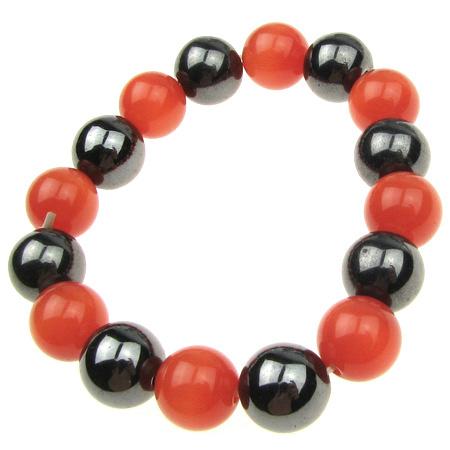 Brățară din piatră naturală HEMATITE Balon portocaliu cu ochi magnetici 11 ~ 12mm