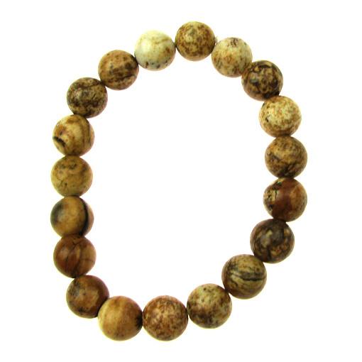 Гривна естествен камък ЯСПИС пейзажен топче 8 мм