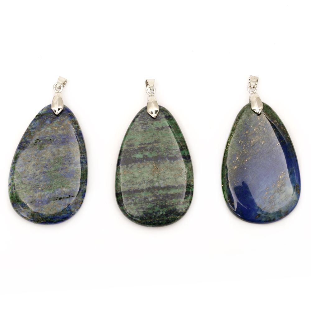 Κρεμαστό φυσική πέτρα Αζουρίτης 32 ~ 46x44 ~ 64 mm