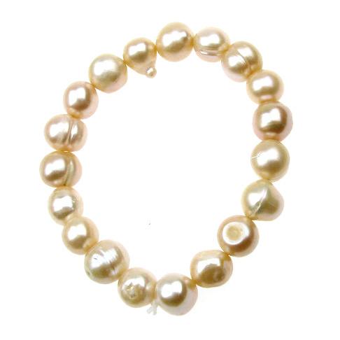 Гривна естествена перла 8±9x8±9 мм кремава клас АА