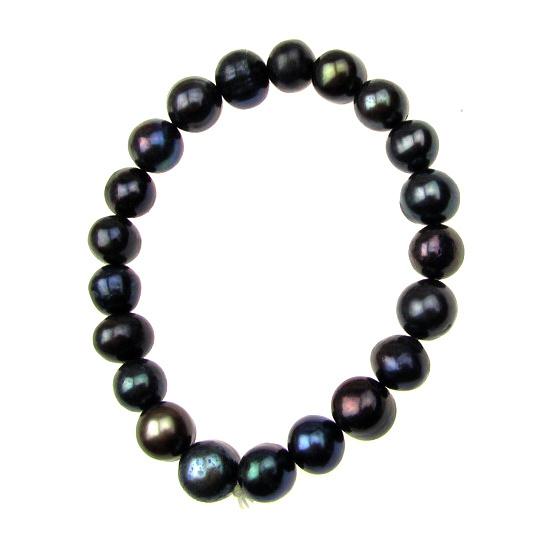 Гривна естествена перла 8~9x8~9 мм черна клас АА