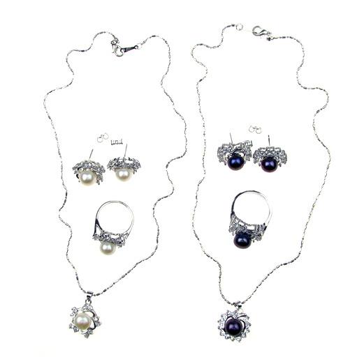 Комплект гердан обеци метал естествени перли кристали