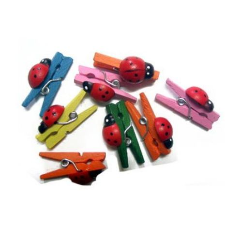 3x25 mm Wooden Decorative Clamps with ladybird colored -20 pieces