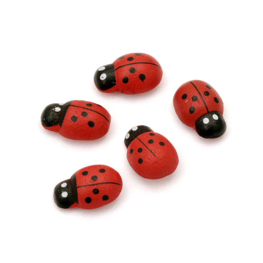 Wooden Ladybug Adhesive 8x12 mm - 20 pieces
