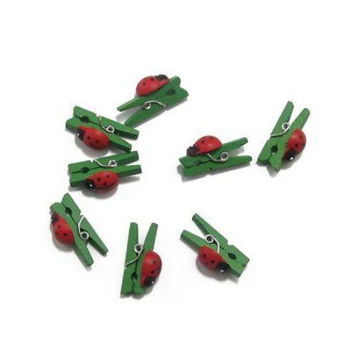 Μανταλάκια με πασχαλίτσα, ξύλινα 3x25 mm πράσινο -20 τεμάχια