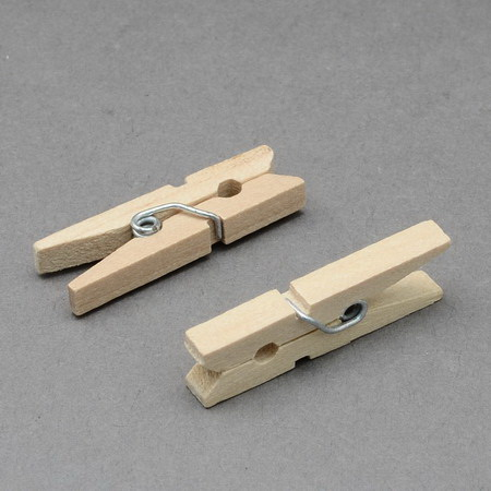 Дървени щипки 7x35 мм цвят дърво -25 броя