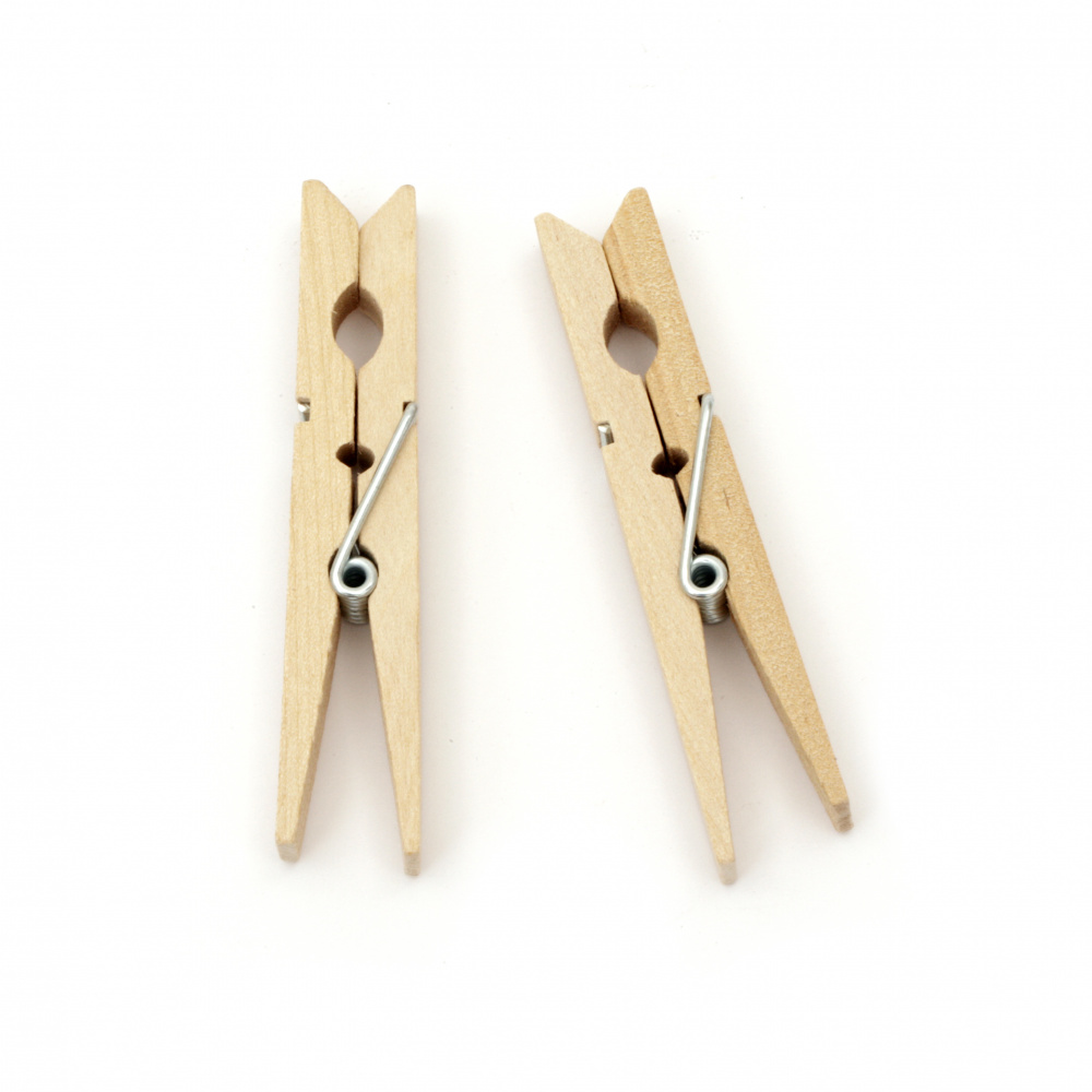 Wooden Clothespins for Decoration 10x72 mm color wood -5 pieces