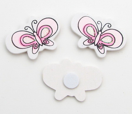 Wooden butterflies with glue 35x25 mm color pink -10 pieces