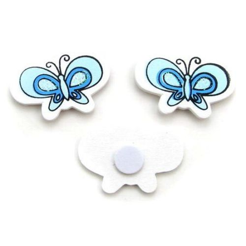 Wooden butterflies with glue 35x25 mm color blue -10 pieces