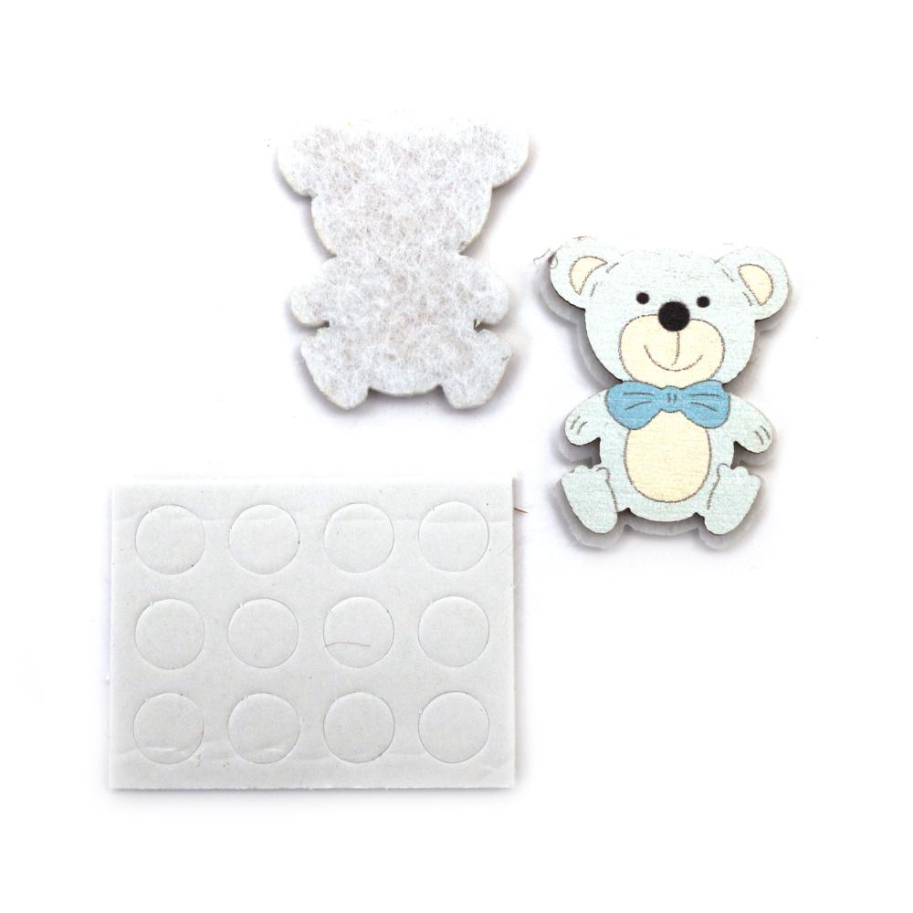 Αρκουδάκι ξύλινο διακοσμητικό με αυτοκόλλητο 38x29 mm μπλε -10 κομμάτια