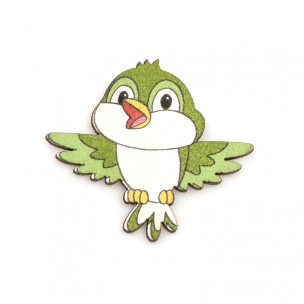 Wooned Bird with adhesive tape 35x38 mm green - 10 pieces