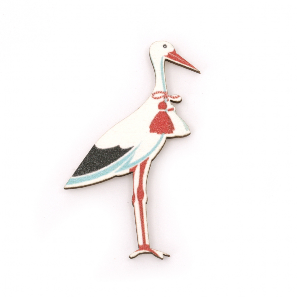 Wooden Ornament Stork with adhesive 49x33 mm - 10 pieces