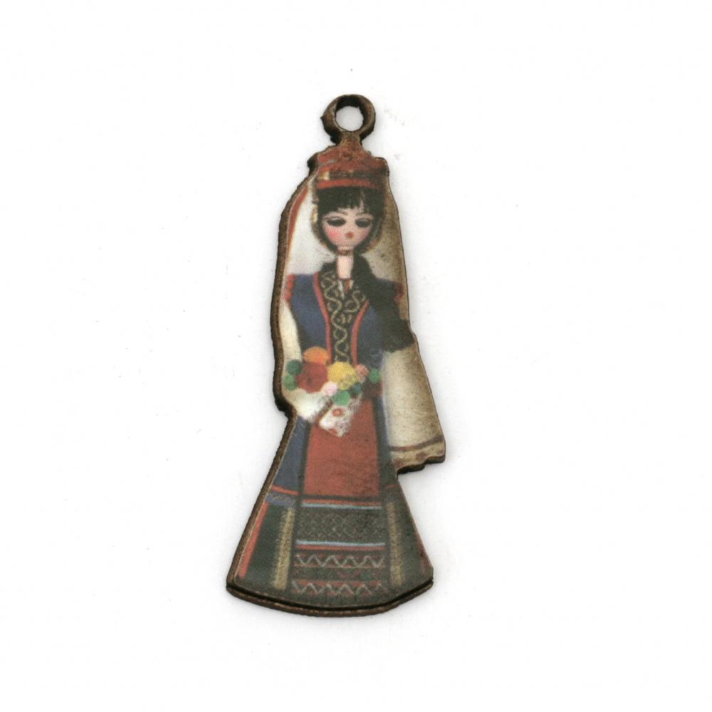Висулка жена с народна носия от шперплат 44x15x2 мм дупка 2 мм -10 броя