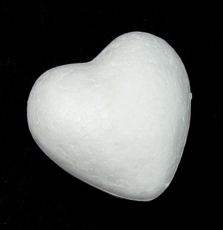 Whitre Polystyrene Heart, 60mm, 10 pcs