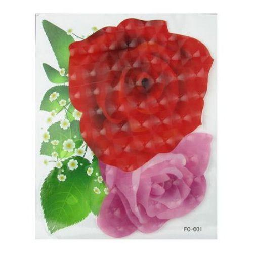 Αυτοκόλλητο τοίχου 3D 20x25 cm τριαντάφυλλο