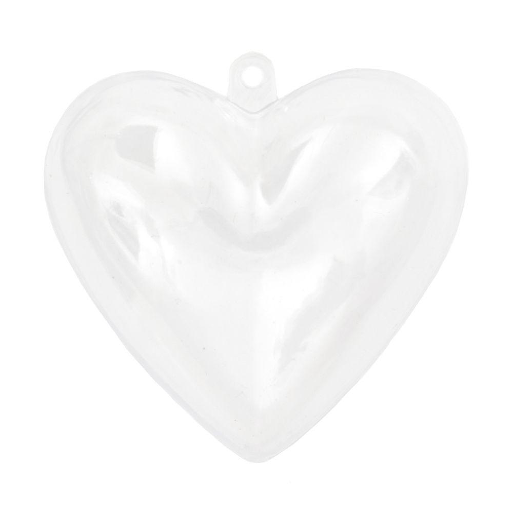 Inimă din plastic transparentă 2 bucăți 65x62x40 mm