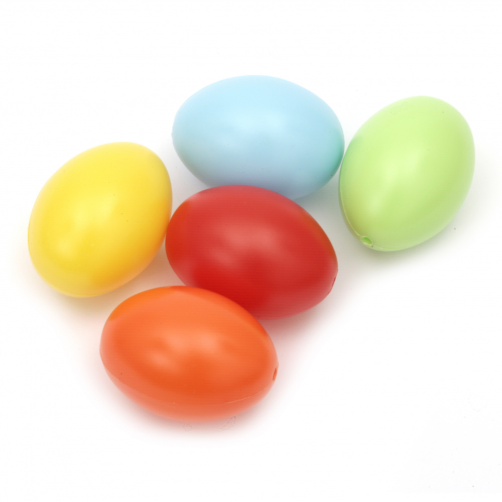 Egg plastic 60x45 mm with one hole 3 mm mix -5 pieces