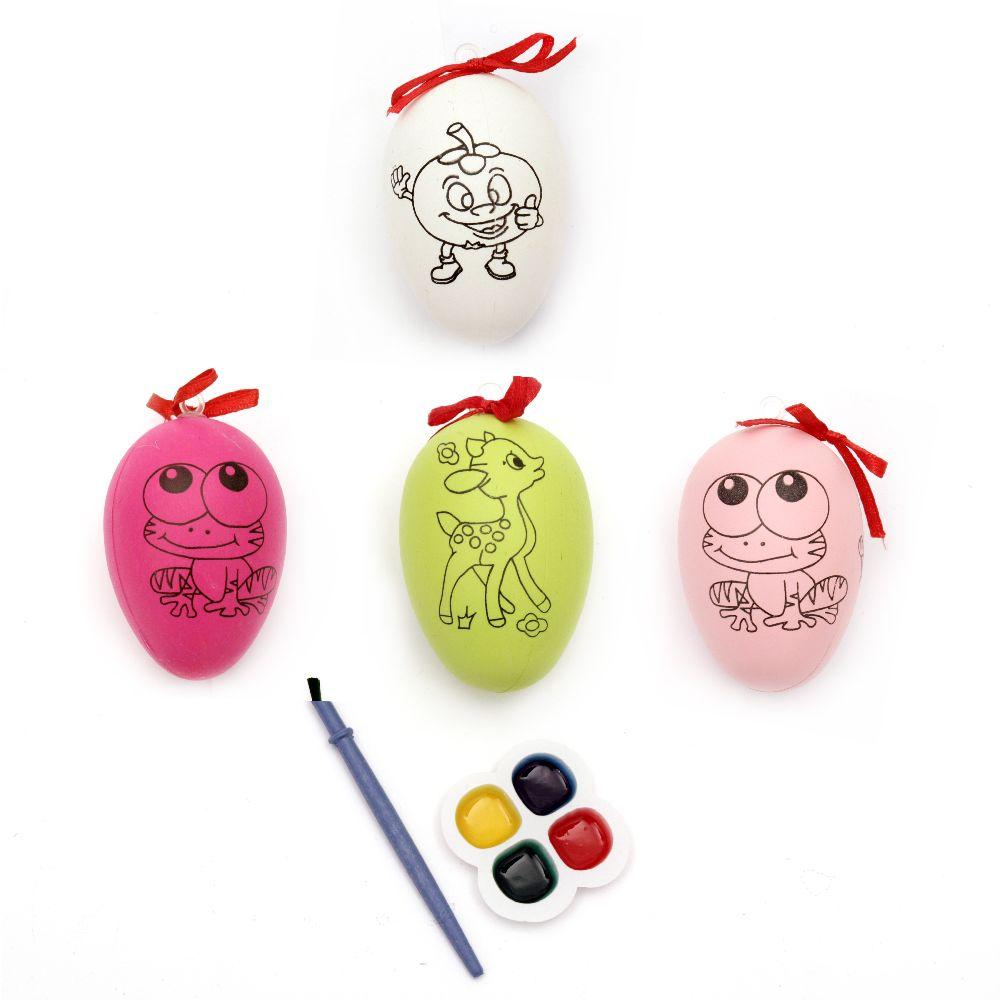 Σετ κρεμαστό πλαστικό αυγό 60x41 mm για ζωγραφική με μπογιές και πινέλο - διαφορετικά χρώματα