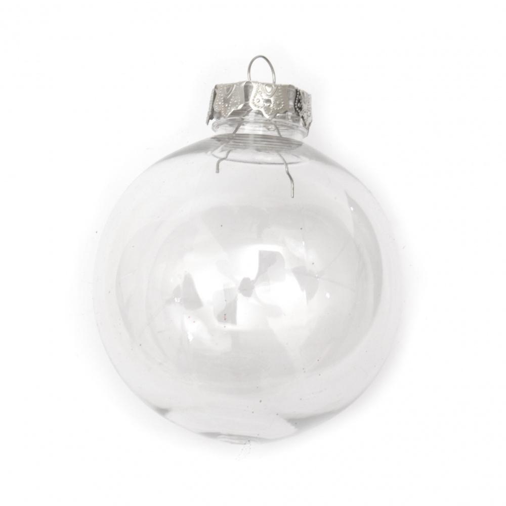 Διάφανη πλαστική μπάλα 80 mm με μια τρύπα μεταλλικό καπέλο 25x25x10 mm