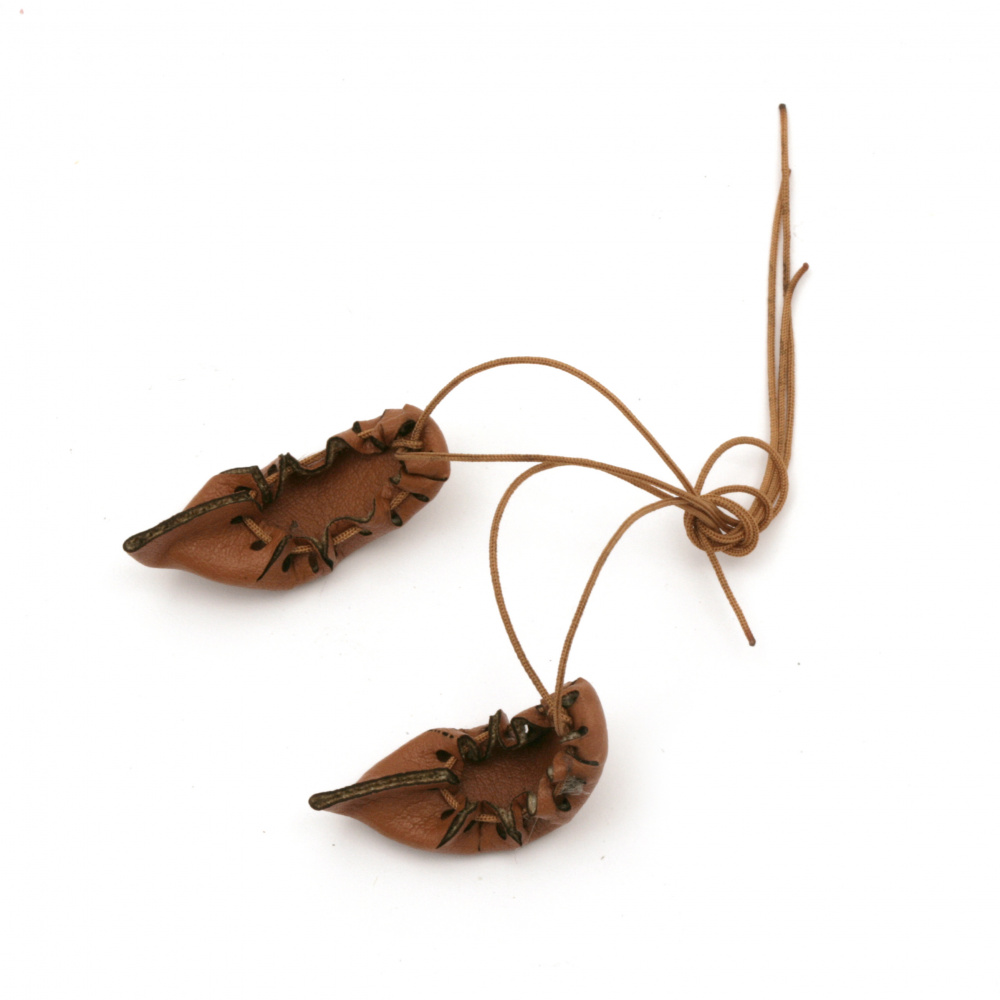 Shine for decoration 40x14 mm eco leather with cotton starched cord brown light -10 pieces