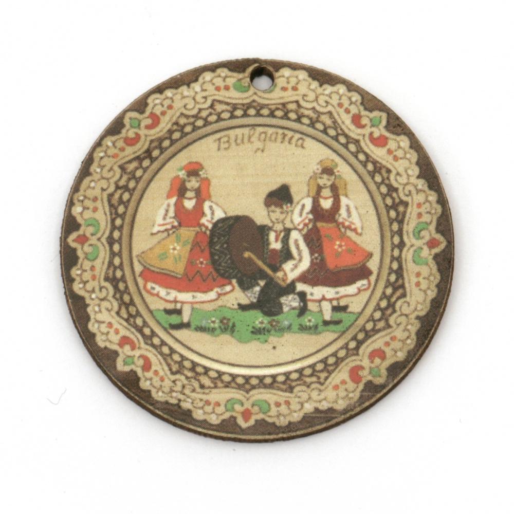 Висулка кръг с танцьори от шперплат 40x2 мм дупка 2 мм -10 броя