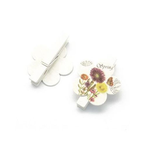 Wooden Decorative Clamps 45x7 mm flower 35x36x2 mm -6 pieces