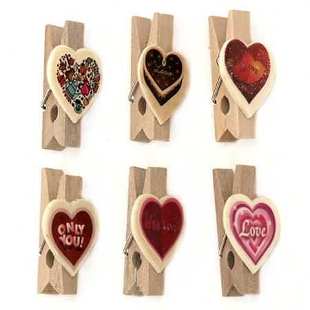Clema din lemn 35x20x11 mm inima 21x20x1 mm -6 buc