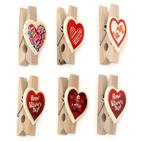 Wooden pinch  for decoration 35 x 20 x 11 mm