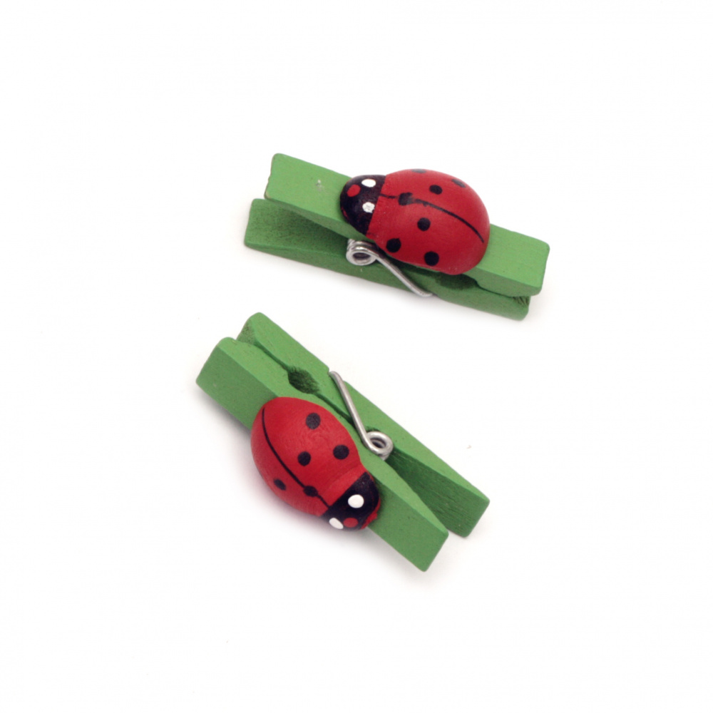 Wooden Decorative Clamps 7x36 mm with ladybird green -20 pieces