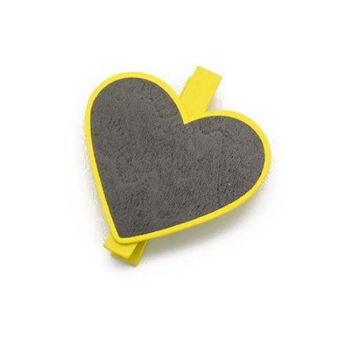 Clemă din lemn 72x10 mm inimă cu tablă neagră 60x67 mm -2 bucăți