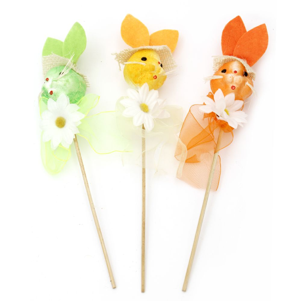 Rabbit styrofoam 80x40 mm with decoration of a stick 240 mm - different colors
