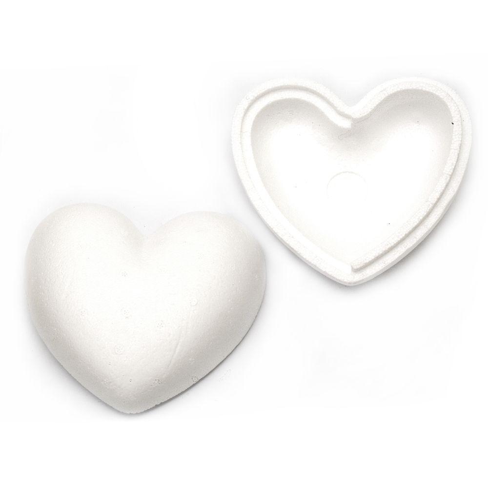 Inima din polistiren din doua parți 150x150 mm pentru decor -1 buc