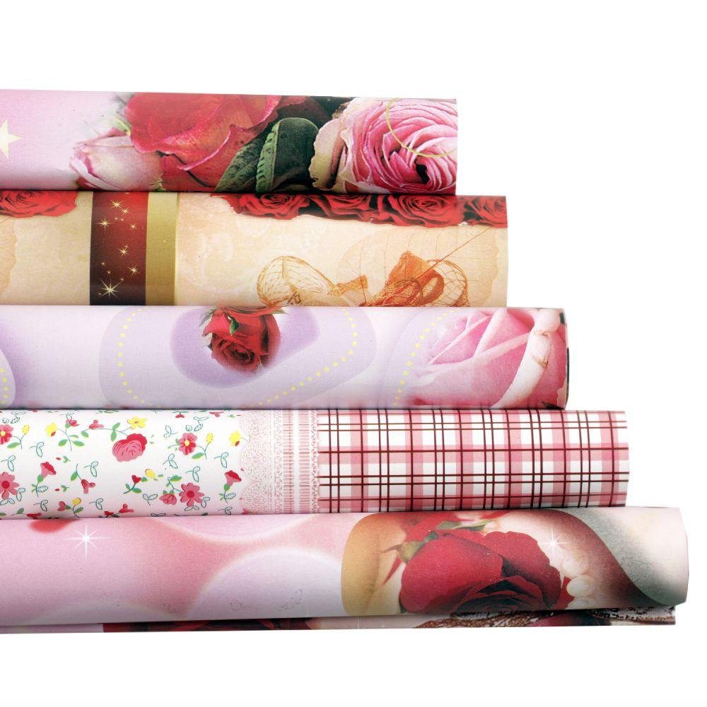 Хартия опаковъчна 51x74 см цветя АСОРТЕ