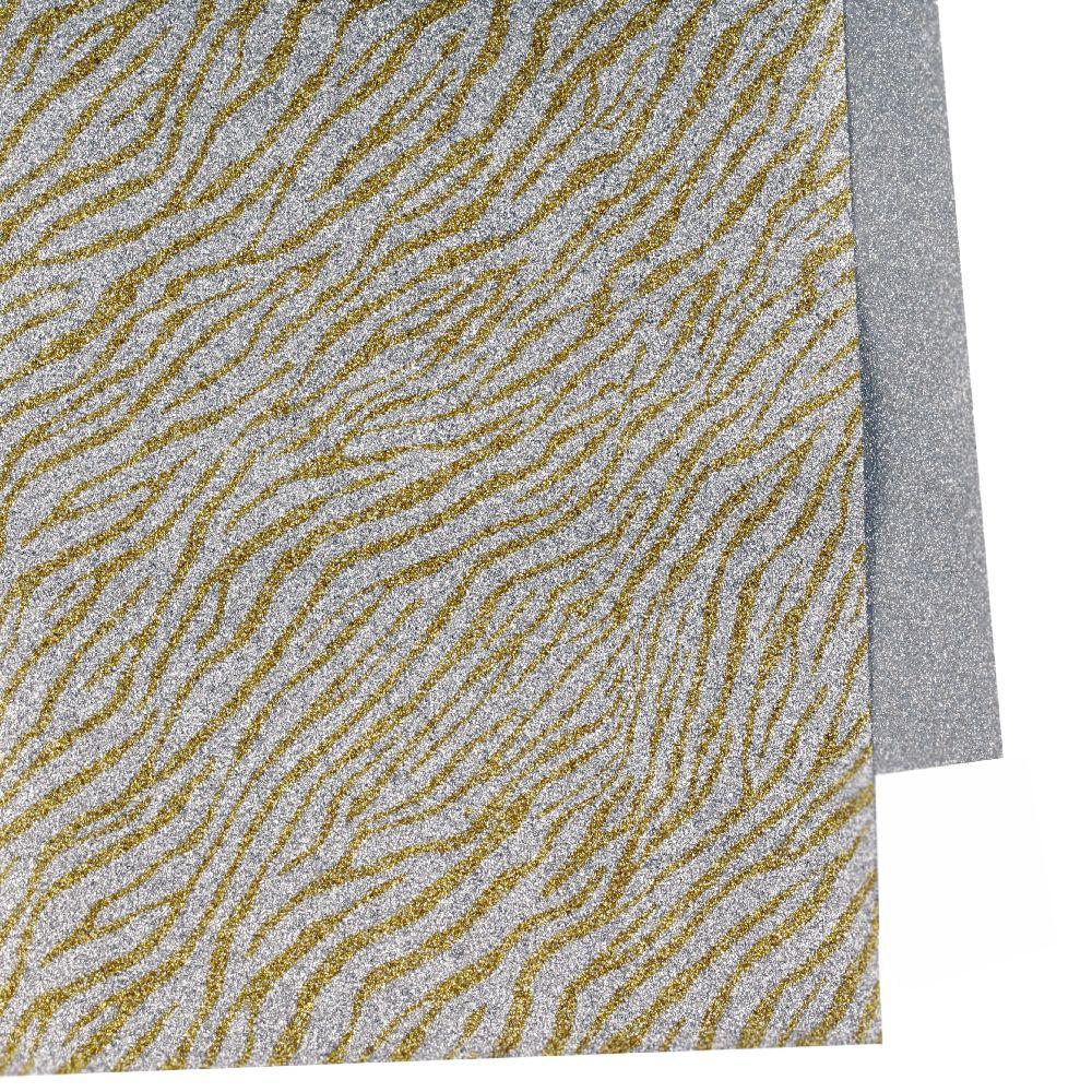 Хартия опаковъчна 700x500 мм двулицева цвят сребро/райе сребро-злато