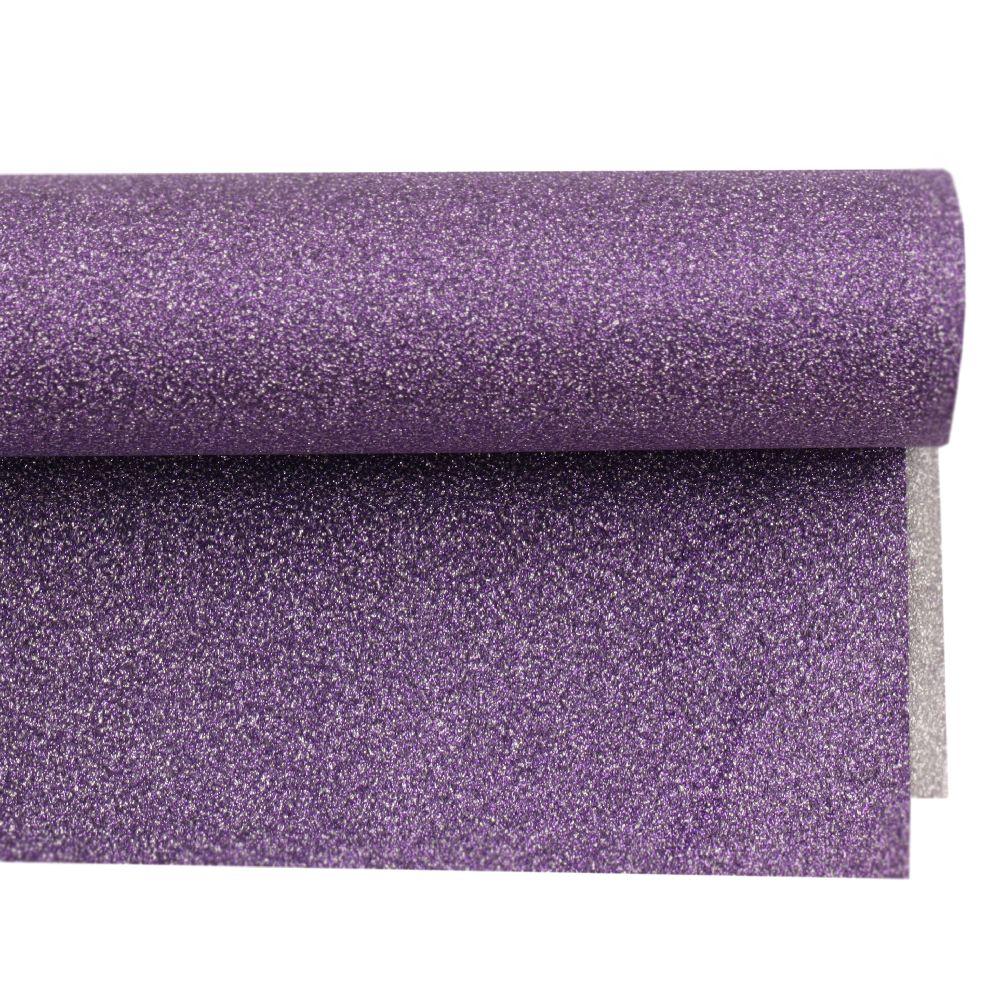 Хартия опаковъчна 700x500 мм двулицева с брокат цвят сребро/лилава