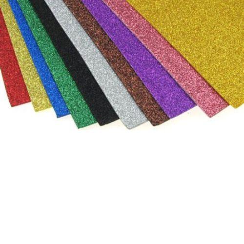 EVA foam glitter mixed colors, A4 Sheet 20x30cm 2mm, 10 pieces