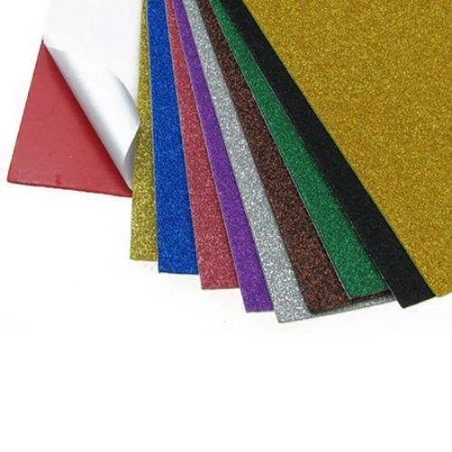 Material EVA / cauciuc microporos / 2mm A4 20x30 cm cu broșă adezivă ASORTE culori -10 coli