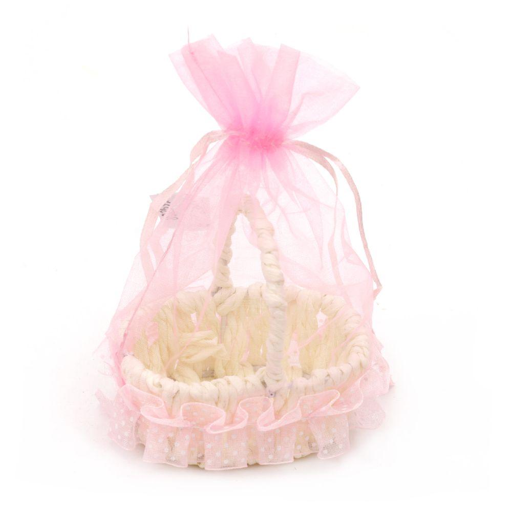 Кошница бебешка 70x60x130 мм за декорация розова
