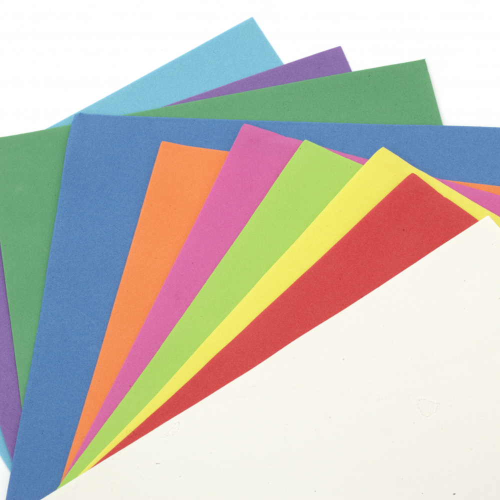 Material EVA / cauciuc microporos / 0,8 ± 0,9 mm A4 20x30 cm color SORTIT -10 coli