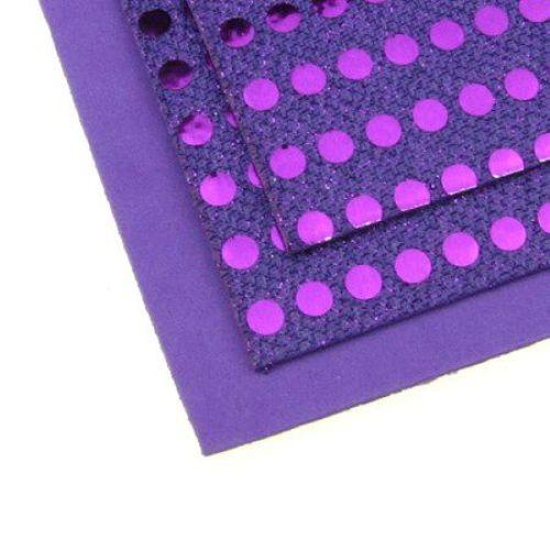 Material EVA / cauciuc microporos / 2mm A4 20x30 cm puncte lucioase 6mm violet