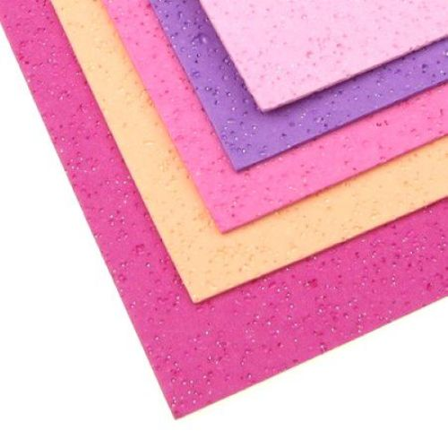EVA Foam double-sided perforated with gloss for scrapbook & craft projects, A4 sheet 20x30cm, 2 mm 5 colors - 10 sheets