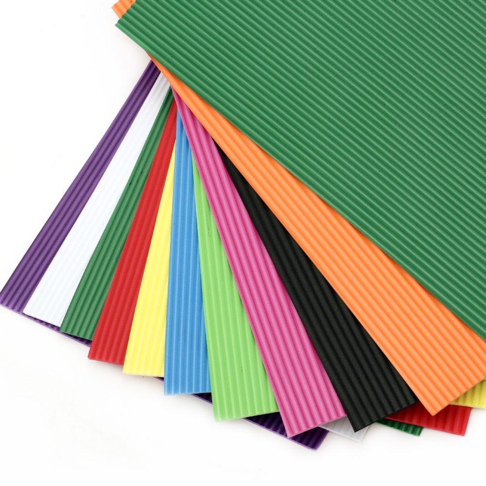 EVA материал /микропореста гума/ 2 мм А4 20x30 см гофриран, АСОРТЕ цветове -10 листа