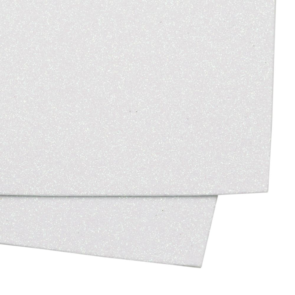 EVA Foam Glitter White, A4 Sheet 20x30cm 2mm DIY Craft, Decoration