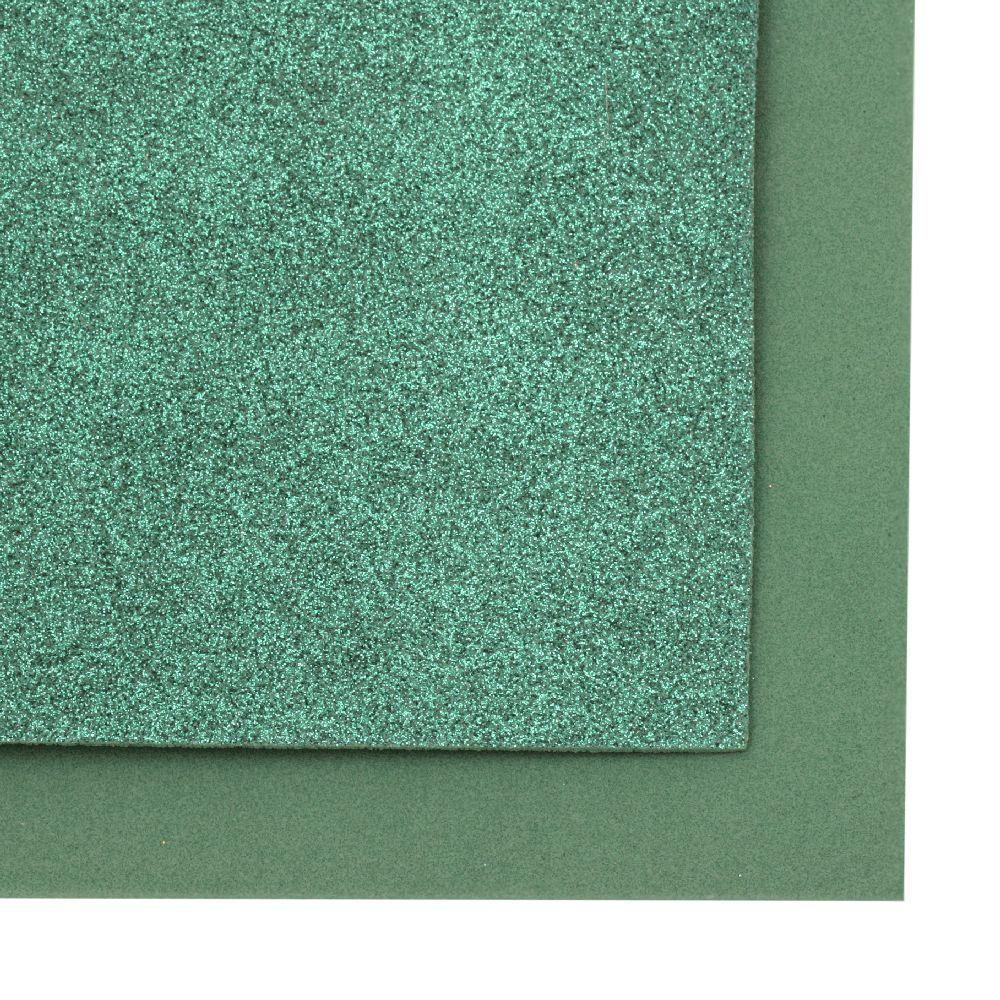 EVA материал /микропореста гума/ 2 мм А4 20x30 см с брокат зелен тъмно
