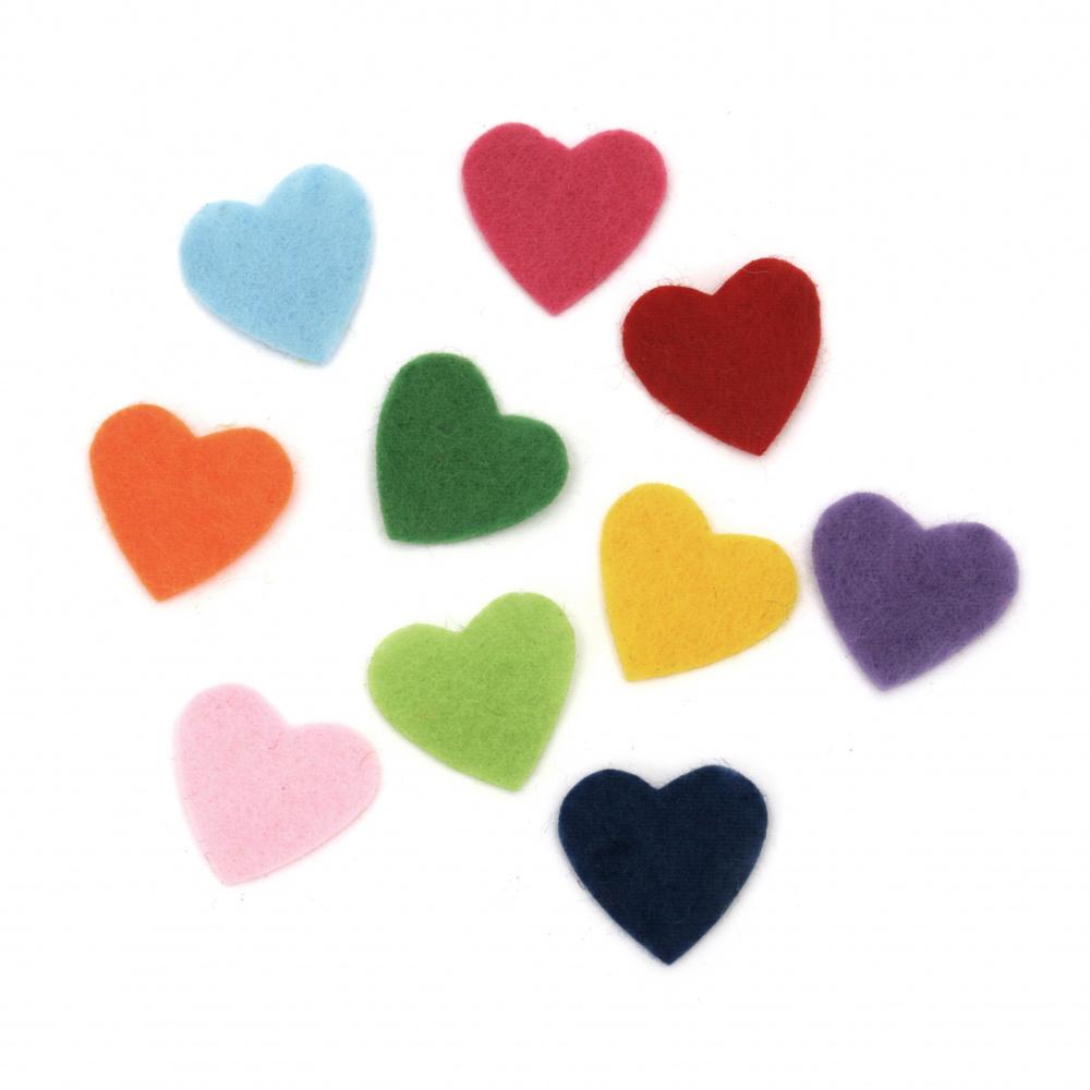Сърце филц 20x20x1 мм микс цветове -20 броя