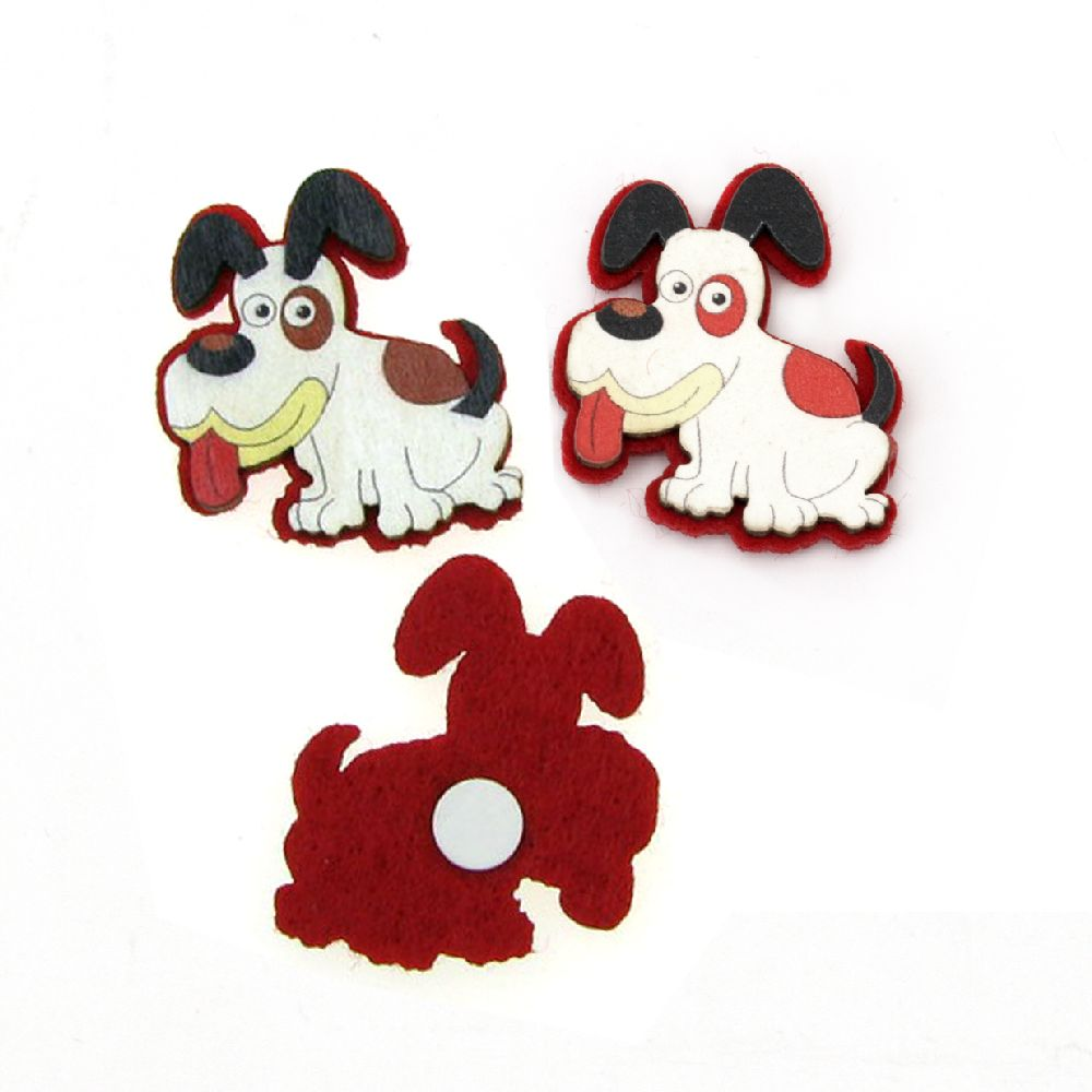 Dog wood and felt with adhesive 32x36mm -10 pieces