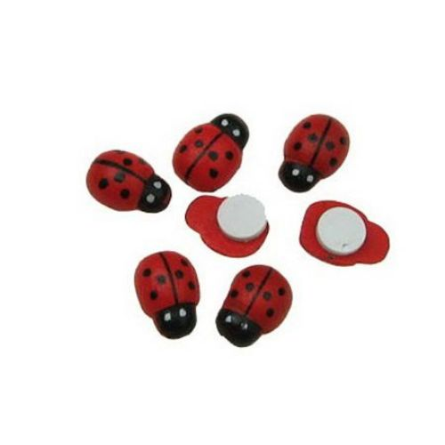 Wooden Ladybug Adhesive 8x11 mm  100 pieces