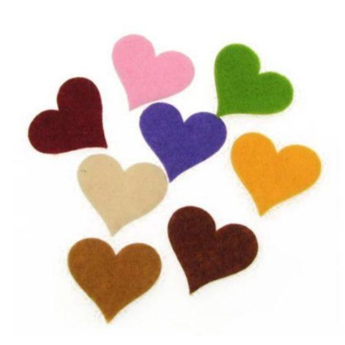 Felt Heart Embellishment Mixed Colors, 32x34x2mm 10pcs