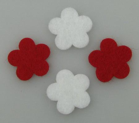 Felt flower for handmade decoration 20x2 mm white and 10 red